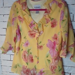 Just In Thyme Yellow Floral Blouse 18P